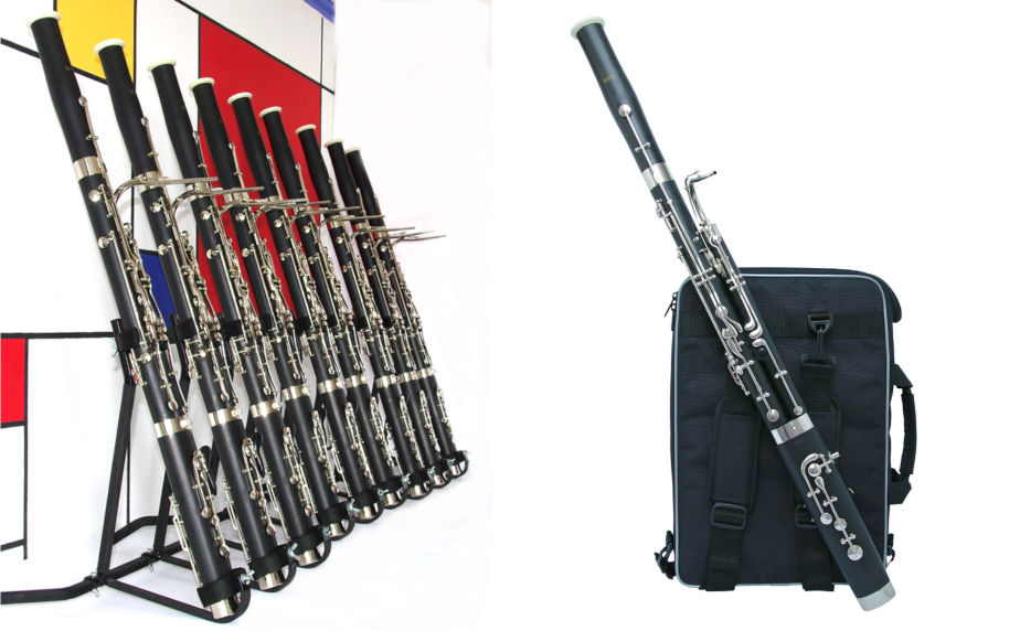 Ludlow mini-bassoons in a row at Double Reed Ltd.