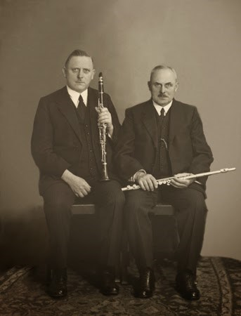 A photograph of bassoon makers Hans and Fritz Moennig