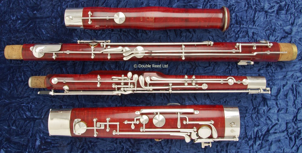 Four separate second hand bassoon joints ready for assembly at Double Reed Ltd.