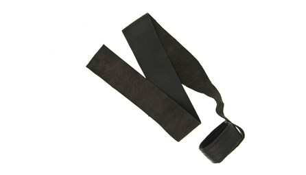A leather seat strap/sling for bassoon made by Bass Bags for sale at Double Reed Ltd.  The bassoon sits securely in the strong leather cup, and the bassoonist sits on the strap to keep it in place. The price of this seat strap is £24.50