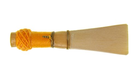 Thunemann reed by Rimpl for sale at Double Reed Ltd. This reed has a big sound ideal for solo playing, and a round, warm timbre.  Yellow binding with a blade tip width of 15.6mm and a throat diameter of 9.1mm. The price of this reed is £12.95