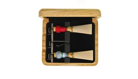 Top quality wooden bassoon reed case from EM for sale at Double Reed Ltd. This reed case features: space for three bassoon reeds, steel spring mechanism and foam insert to hold reeds securely in place, ventilation holes to allow reeds to dry, natural wood finish. The price of this bassoon reed case is £24.50