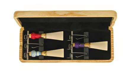 Top quality wooden bassoon reed case from EM for sale at Double Reed Ltd. This reed case features: space for six bassoon reeds, steel spring mechanism and foam insert to hold reeds securely in place, ventilation holes to allow reeds to dry, natural wood finish. The price of this bassoon reed case is £27.50