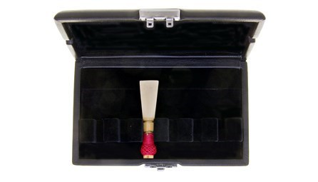 Ludlow bassoon reed case for sale at Double Reed Ltd., featuring: space for six reeds, metal clip to keep the case securely closed, ventilation holes to allow reeds to dry, soft black velvet interior, durable leather style outer cover. The price of this bassoon reed case is £14.45