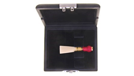 Ludlow bassoon reed case for sale at Double Reed Ltd., featuring: space for three reeds, metal clip to keep the case securely closed, ventilation holes to allow reeds to dry, soft black velvet interior, durable leather style outer cover. The price of this bassoon reed case is £12.45