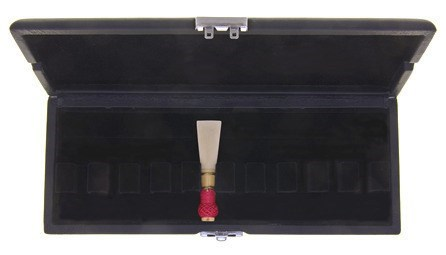 Ludlow bassoon reed case for sale at Double Reed Ltd., featuring: space for ten reeds, metal clip to keep the case securely closed, ventilation holes to allow reeds to dry, soft black velvet interior, durable leather style outer cover. The price of this bassoon reed case is £18.45