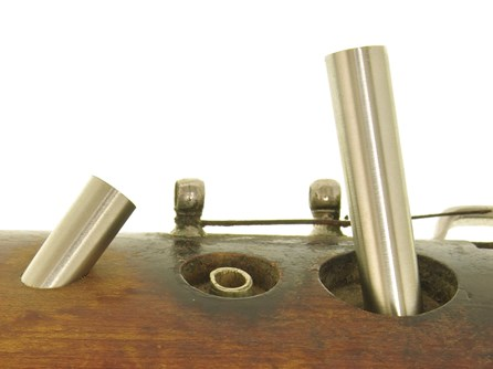 Finger holes being installed on a pre-war Heckel 5000 bassoon in the Double Reed Ltd. workshop, prior to the tops being cut off and shaped