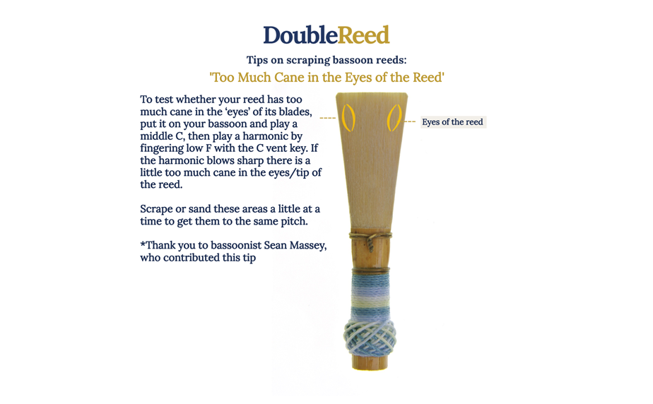 Adjusting bassoon reeds by Double Reed Ltd.: 'Too much Cane in the Eyes of the Reed'