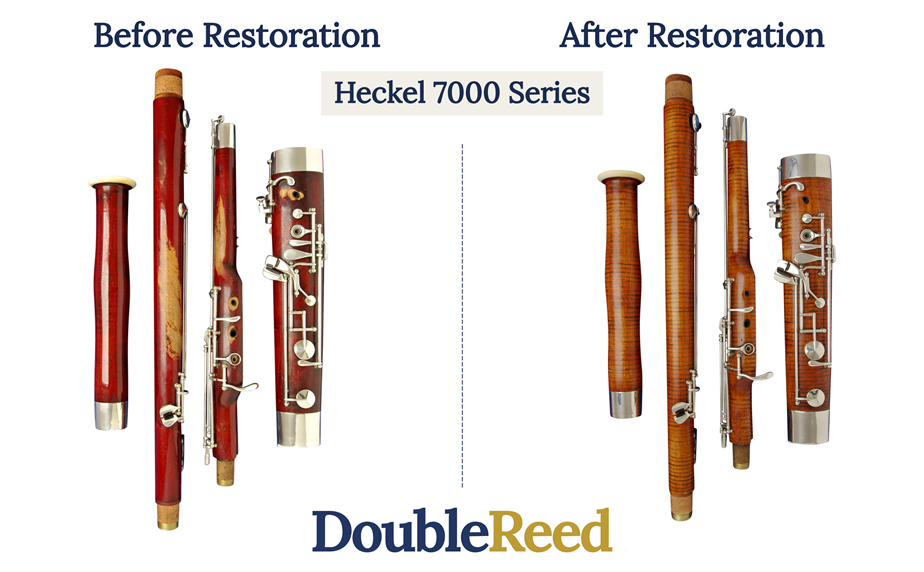 A before restoration and after restoration picture of a 1936 7000 Series Heckel bassoon repaired at Double Ltd.