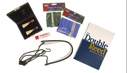 Beginner Bassoon Kit for sale at Double Reed Ltd. This kit includes: Cork Grease, Hodge Silk Wing & Boot Swab, Kolbl Pro Line Leather Neck Strap, Ludlow Three Reed Case, Microfibre Cloth, Hodge Silk Crook Swab, PLUS: Rieger 1a Soft Bassoon Reed, Rieger 2 Soft Bassoon Reed