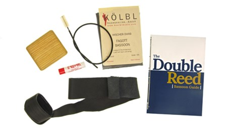 Deluxe Bassoon Kit for sale at Double Reed Ltd. This kit includes: Cork Grease, Kolbl Silk Wing & Boot Swab, Bass Bags Seat Strap with Cup, Wooden Case for Three Reeds, Microfibre Cloth, Kolbl Snake Crook/Bocal Brush