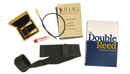 Deluxe Bassoon Kit for sale at Double Reed Ltd. This kit includes: Cork Grease, Kolbl Silk Wing & Boot Swab, Bass Bags Seat Strap with Cup, Wooden Case for Three Reeds, Microfibre Cloth, Kolbl Snake Crook/Bocal Brush, PLUS two professional level bassoon reeds: Rimpl 3 'Danzi' Bassoon Reed (Hard), Thunemann Bassoon Reed (Hard)